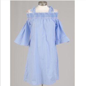 Spense cold shoulder blue white stripe smock dress